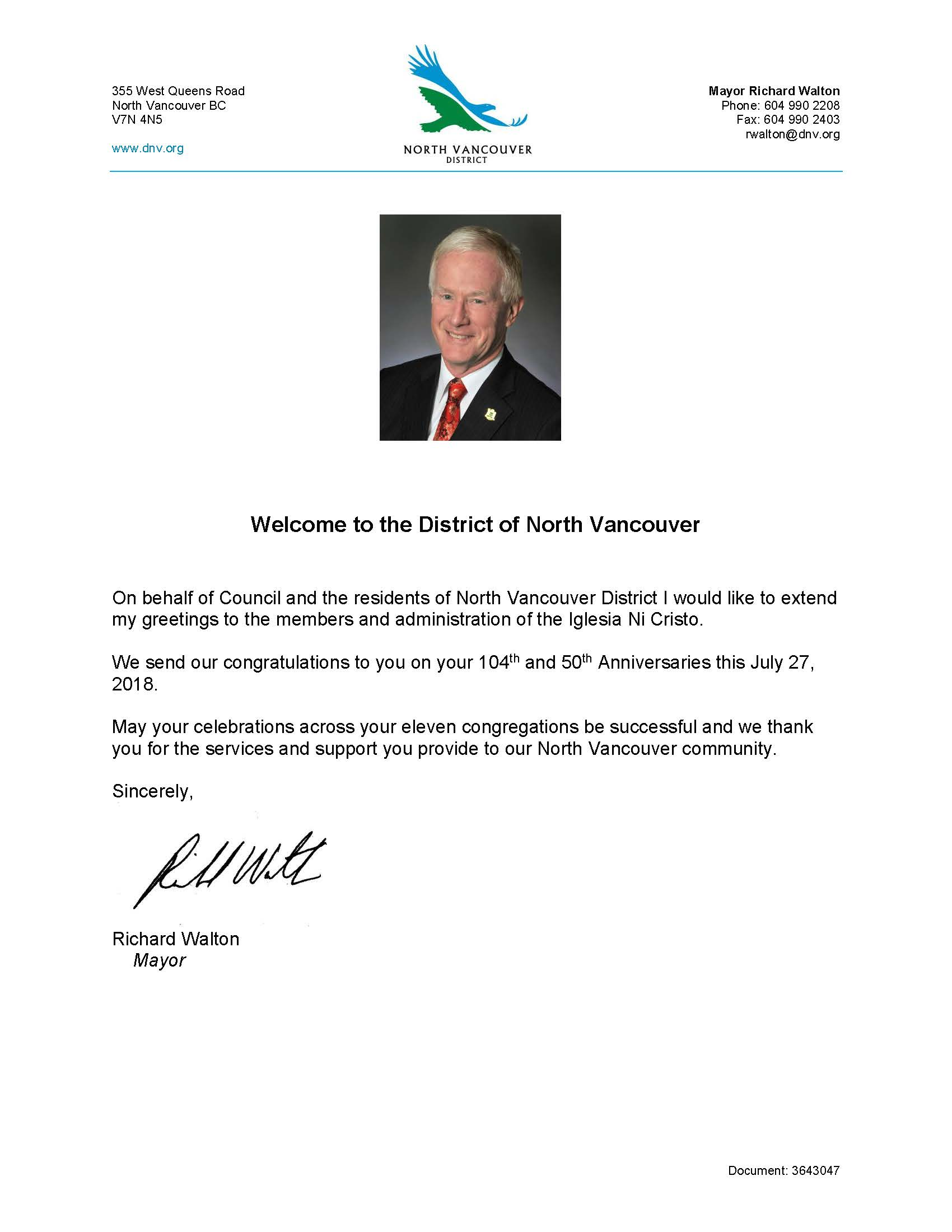 Mayor Greetings District of North Vancouver