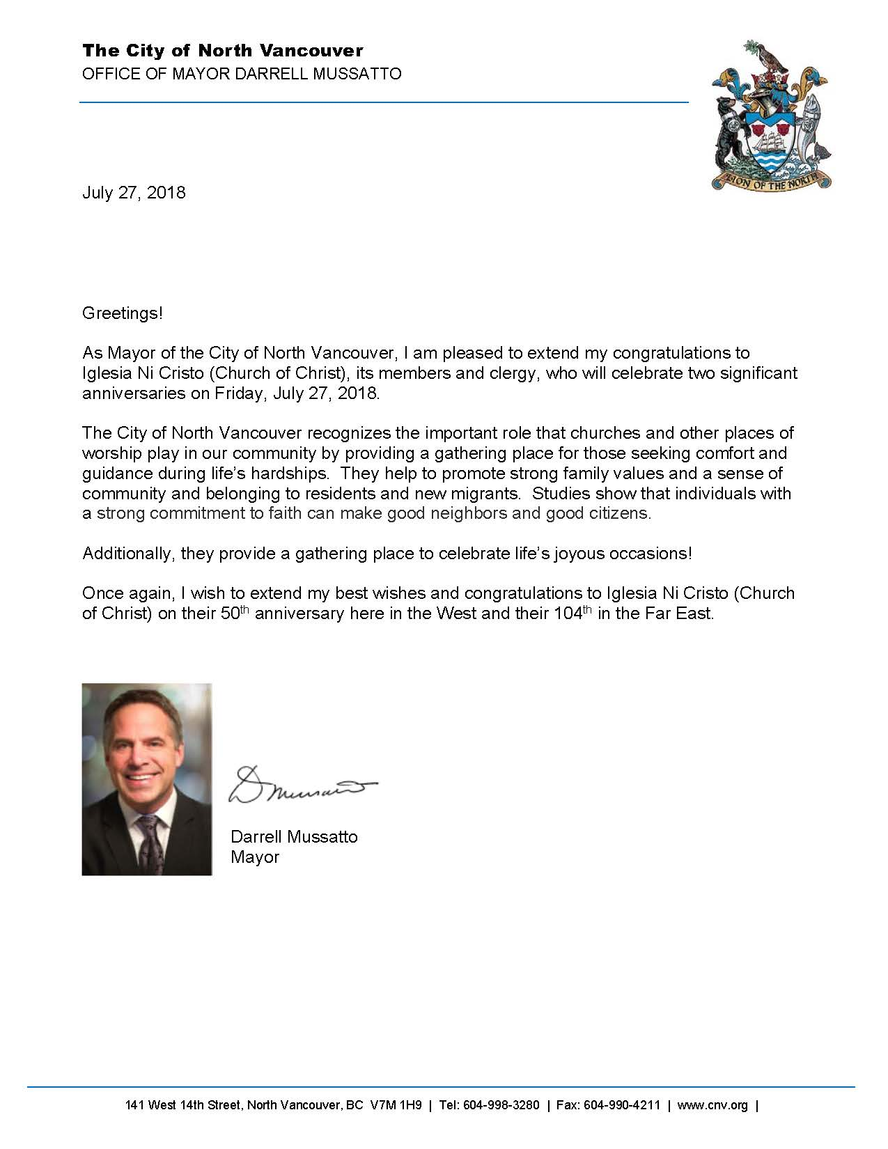 Mayor Greetings North Vancouver