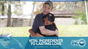 "man and woman hugging with text overlay ""vital ingredients to lasting love"