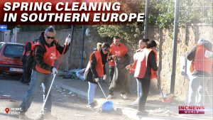 "A group of volunteers sweeping and picking up trash along a street in Rome with overlay text, ""Spring Cleaning in Southern Europe."""